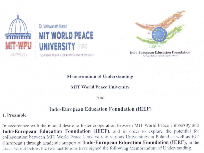 MOU with MIT World Peace University, Pune