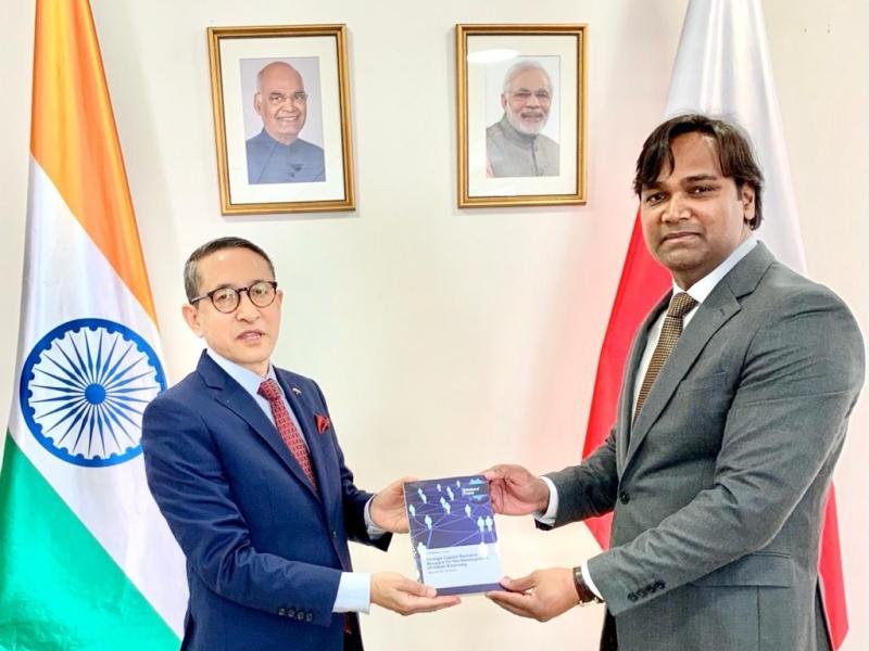 Presented a book to the Ambassador of India, H.E. Mr. Tsewang Namgyal