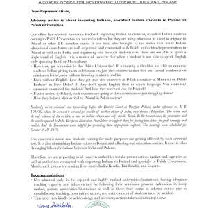Advisory Notice for Government Officials- India and Poland