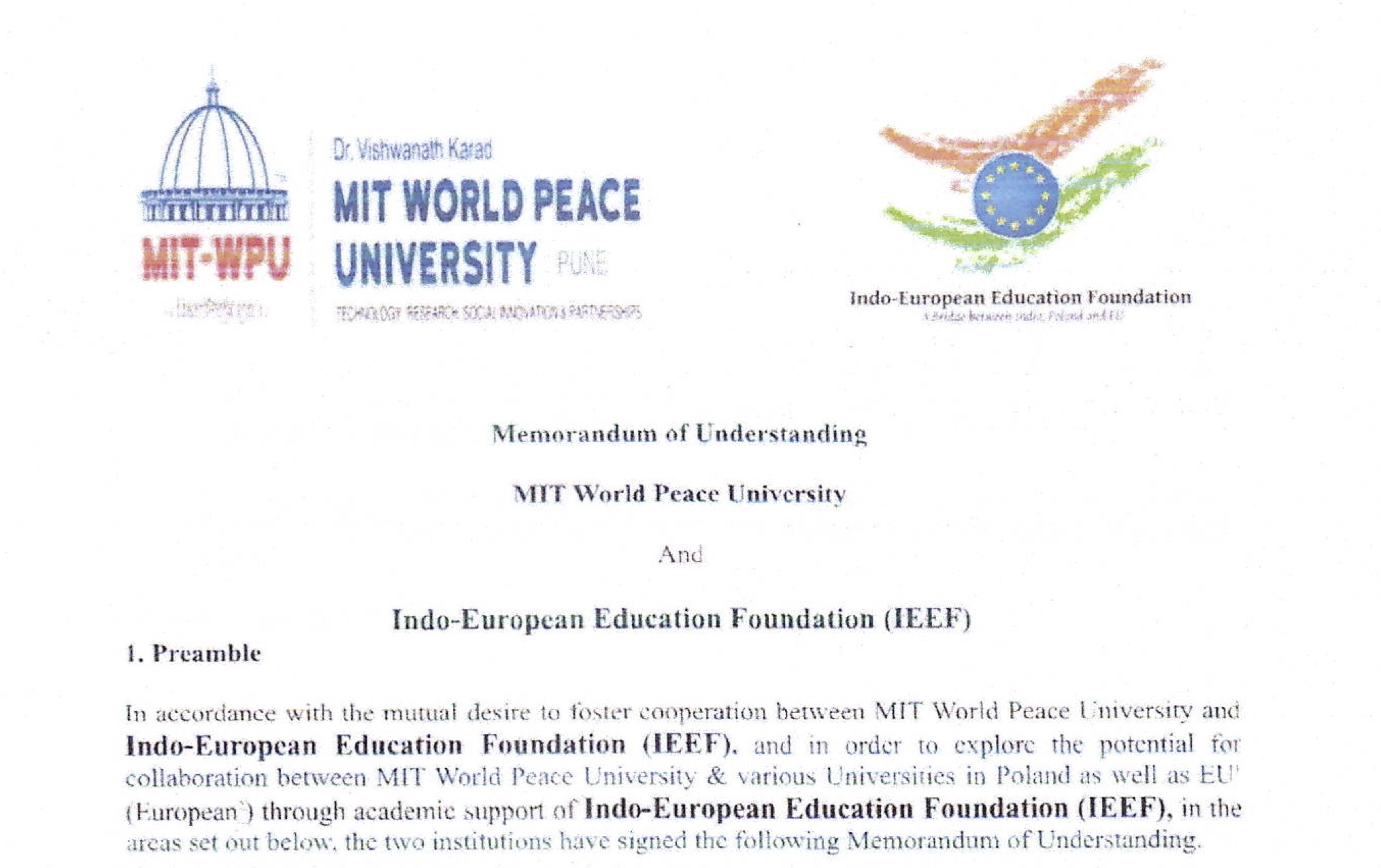MOU between IEEF, Warsaw, and MIT World Peace University, Pune